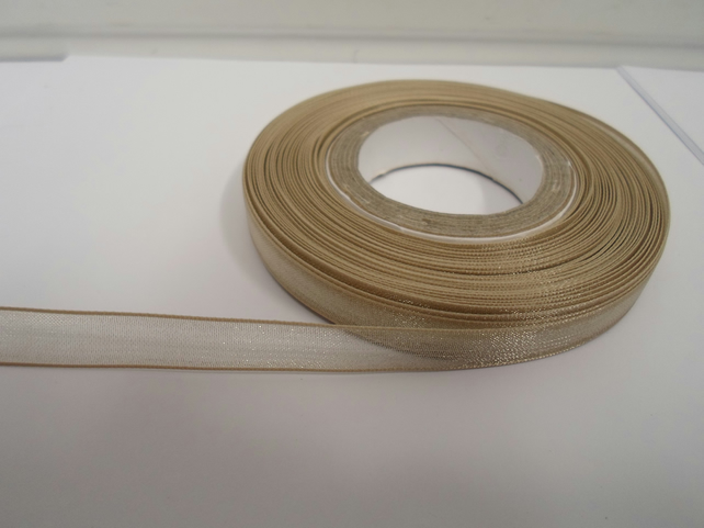 1 roll of 9mm Light Gold  Sheer Organza ribbon, 25 metres, double sided