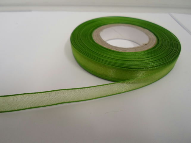 1 roll of 9mm Leaf, Bright Green Sheer Organza ribbon, 25 metres, double sided