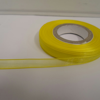 1 roll of 9mm Canary, Bright Yellow Sheer Organza ribbon, 25 metres double sided