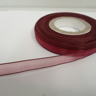 1 roll of 9mm Burgundy Sheer Organza ribbon, 25 metres, double sided