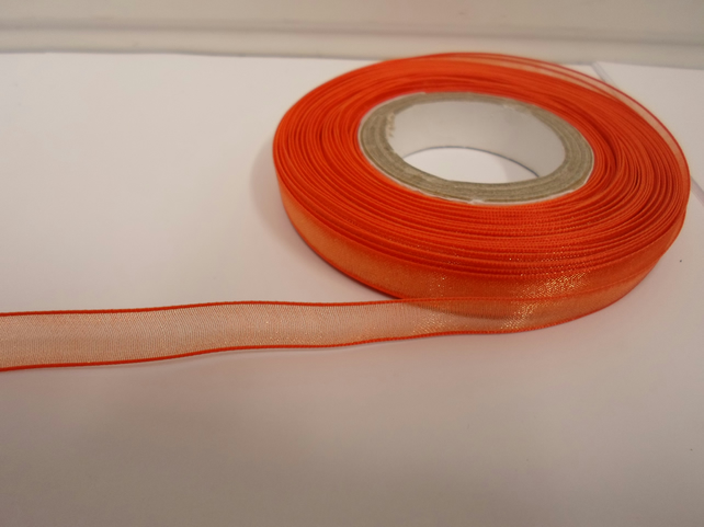 1 roll of 9mm Pumpkin, Dark Orange Sheer Organza ribbon, 25 metres, double sided