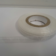 1 roll of 9mm White Sheer Organza ribbon, 25 metres, double sided