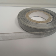 1 roll of 9mm Silver Sheer Organza ribbon, 25 metres, double sided