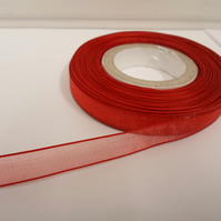 1 roll of 9mm Red Sheer Organza ribbon, 25 metres, double sided