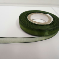 1 roll of 9mm Olive, Dark Green Sheer Organza ribbon, 25 metres, double sided