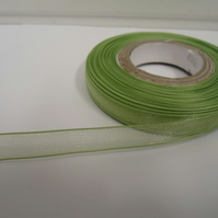 1 roll of 9mm Sage, Light Green Sheer Organza ribbon, 25 metres, double sided