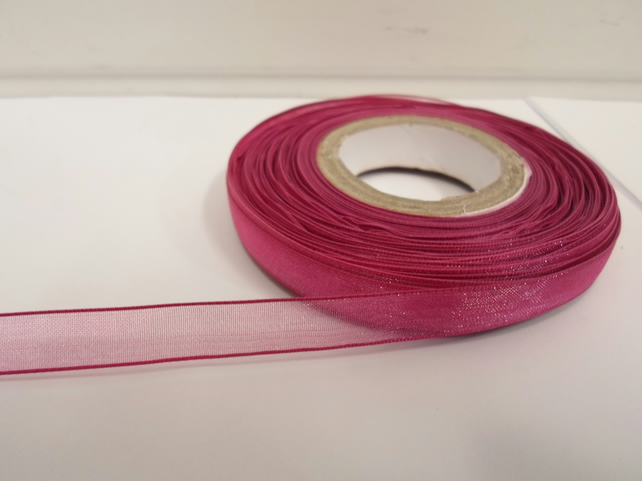 1 roll of 9mm Magenta, Dark Pink Sheer Organza ribbon, 25 metres, double sided