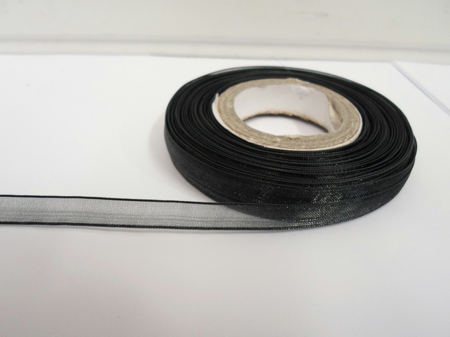 1 roll of 9mm Black  Sheer Organza ribbon, 25 metres, double sided