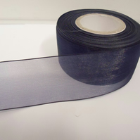 2 metres of 40mm navy, dark blue Sheer Organza ribbon,  double sided