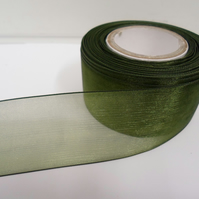 2 metres of 40mm olive, dark green Sheer Organza ribbon,  double sided