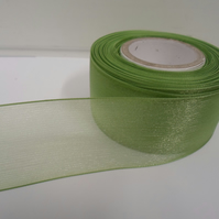 2 metres of 40mm sage, light green Sheer Organza ribbon,  double sided