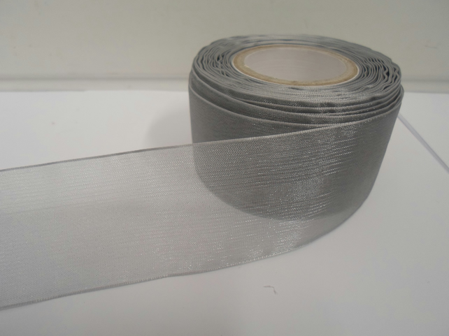 2 metres of 40mm SILVER Sheer Organza ribbon,  double sided