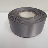2 metres of 38mm Gun Metal Grey, Dark SIlver satin ribbon, double sided