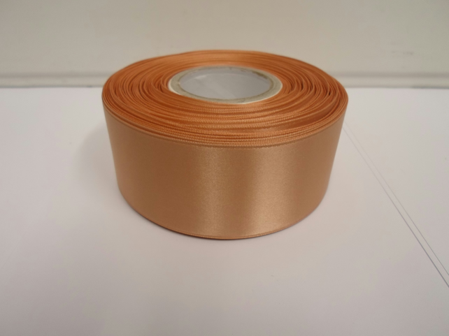 2 metres of 38mm Caramel Gold satin ribbon, double sided
