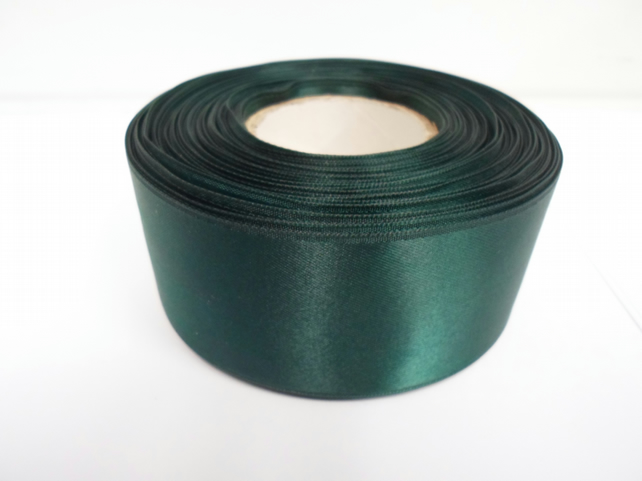 2 metres of 38mm Forest, Dark Green satin ribbon, double sided