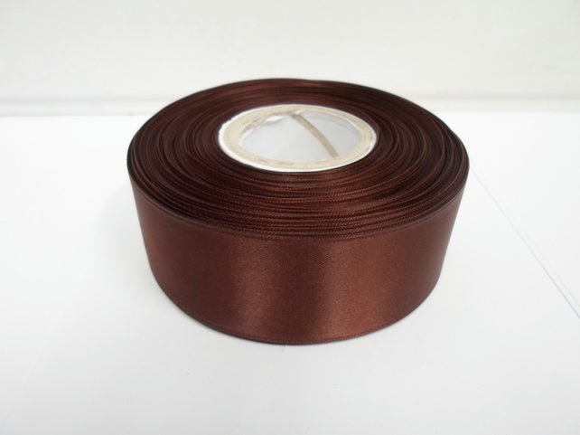 2 metres of 38mm Chestnut, dark brown satin ribbon, double sided
