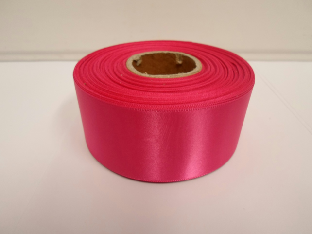 2 metres of 38mm Hot, bright pink satin ribbon, double sided