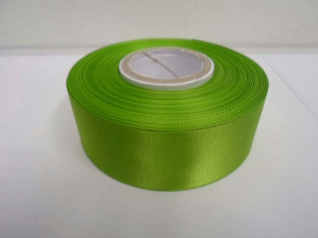 2 metres of 38mm Leaf, bright green satin ribbon, double sided