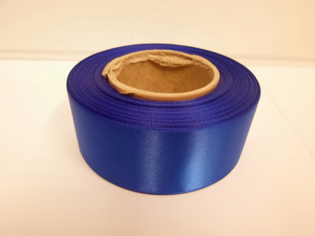 2 metres of 38mm royal , cobalt blue satin ribbon, double sided