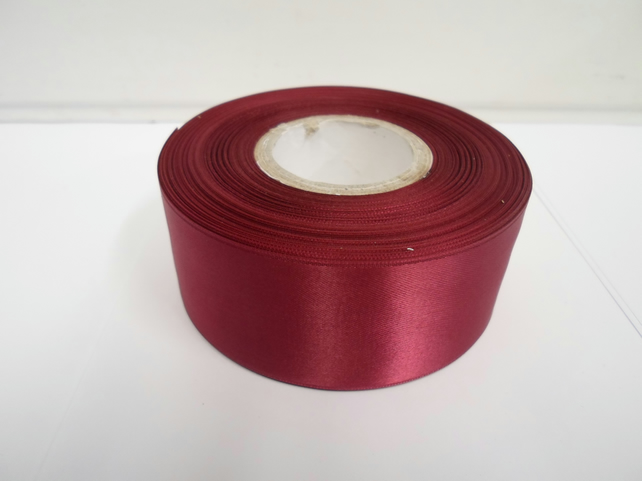2 metres of 38mm Burgundy, satin ribbon, double sided