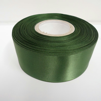 2 metres of 38mm olive, dark green satin ribbon, double sided