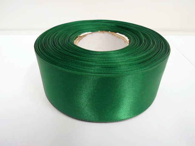 2 metres of 38mm Emerald, dark green satin ribbon, double sided