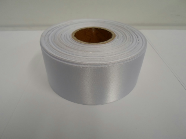 2 metres of 38mm White satin ribbon, double sided