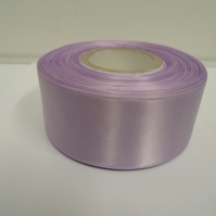 2 metres of 38mm Lilac, light purple satin ribbon, double sided