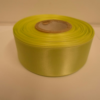 2 metres of 38mm Apple, light green satin ribbon, double sided