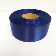 2 metres of 38mm Navy, dark blue, satin ribbon, double sided