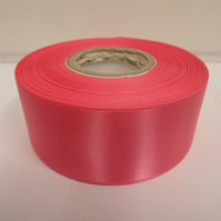 2 metres of 38mm Barbie pink, briht pink satin ribbon, double sided