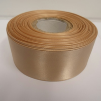 2 metres of 38mm latte coffee. light beige satin ribbon, double sided
