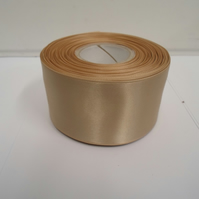 1 roll of 50mm coffee latte, light beige satin ribbon, 25 metres, double