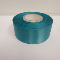 2 metres of 38mm dark turquoise satin ribbon, double sided
