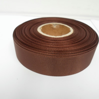 1 roll of 22mm Chestnut, Dark Brown Grosgrain ribbon, 20 metres, double sided