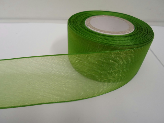2 metres of 40mm Leaf, Bright Green sheer organza ribbon, double sided