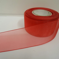 2 metres of 40mm Scarlet, Bright Red sheer organza ribbon, double sided