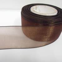 2 metres of 40mm Chestnut, Dark Brown sheer organza ribbon, double sided