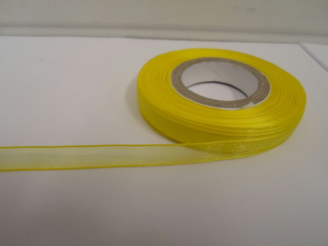 2 metres of 9mm Canary, Bright Yellow Sheer Organza ribbon,  double sided