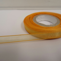 2 metres of 9mm Marigld, Dark Yellow Sheer Organza ribbon,  double sided