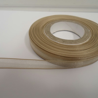 2 metres of 9mm Light Gold Sheer Organza ribbon,  double sided