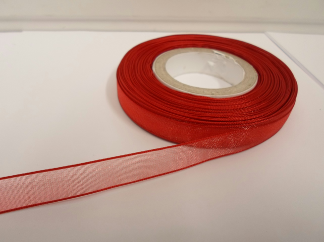 2 metres of 9mm Scarlet, Bright Red Sheer Organza ribbon,  double sided