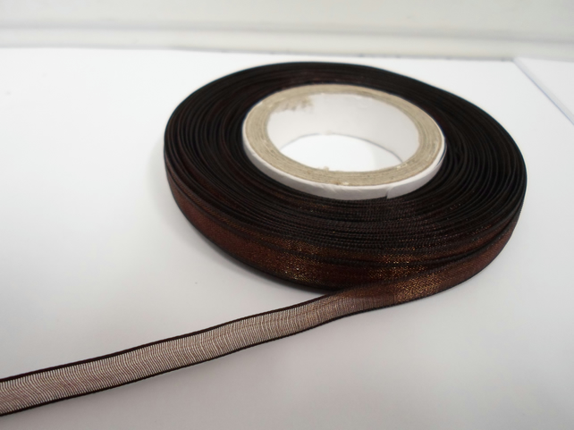 2 metres of 9mm Chestnut, Dark Brown Sheer Organza ribbon,  double sided