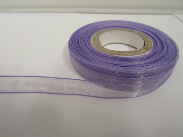 2 metres of 9mm Lilac, light purple Sheer Organza ribbon,  double sided