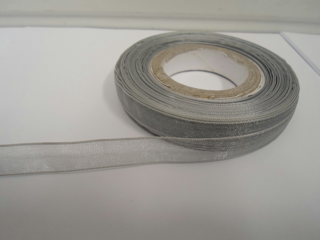2 metres of 9mm Silver Sheer Organza ribbon,  double sided