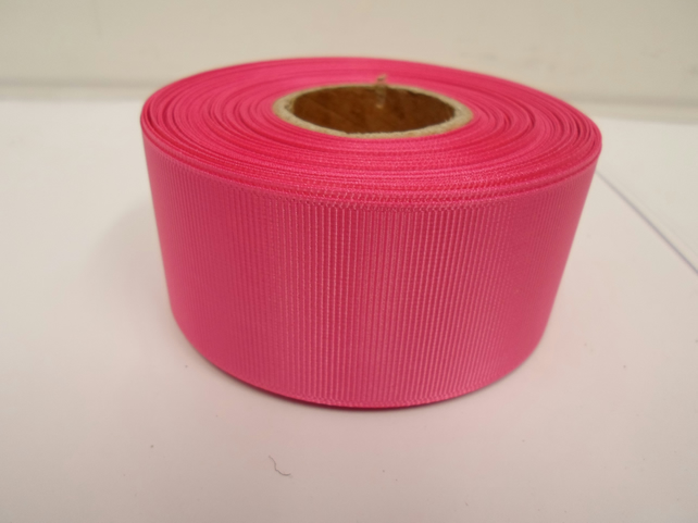 1 roll x 38mm Hot, Bright Pink Grosgrain Ribbon, 20 metres, ribbed, double sided