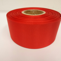 1 roll x 38mm Scarlet, Bright Red  Grosgrain Ribbon, 20 metres, ribbed, double