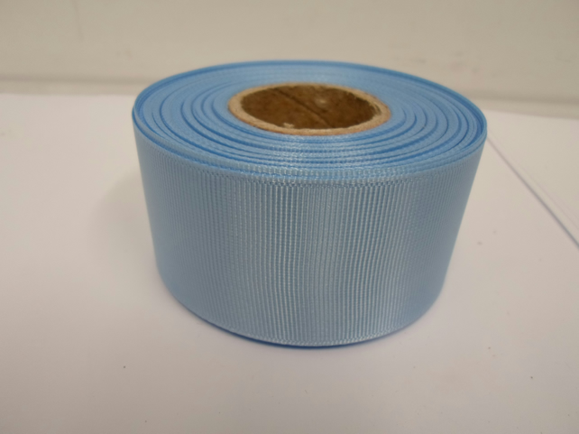 1 roll x 38mm Baby Light Blue Grosgrain Ribbon, 20 metres, ribbed, double