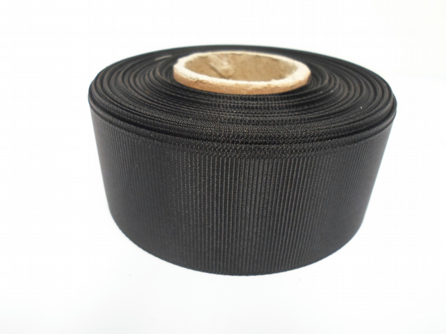 1 roll x 38mm Royal Black Grosgrain Ribbon, 20 metres, ribbed, double sided