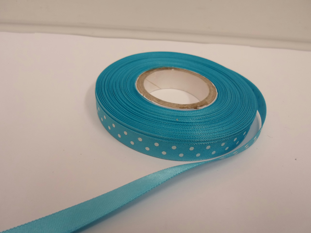 1 roll x 10mm Dark Turquoise Blue Polka Dot Satin Ribbon with White Spots,